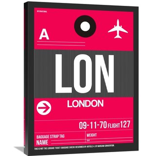 Naxart Studio 'LON London Luggage Tag 2' Stretched Canvas Wall Art