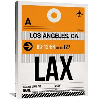 Naxart Studio 'LAX Los Angeles Luggage Tag 2' Stretched Canvas Wall Art