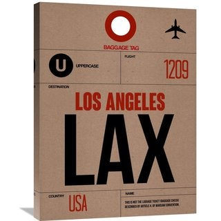 Naxart Studio 'LAX Los Angeles Luggage Tag 1' Stretched Canvas Wall Art