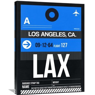 Naxart Studio 'LAX Los Angeles Luggage Tag 3' Stretched Canvas Wall Art