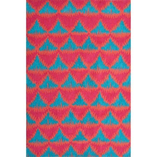 Hand-Hooked Tropic Pyramid /Polyester Rug (5'X8')
