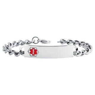 """Boston Bay Diamonds Men's Stainless Steel Medical Alert Bracelet, 8.5"""" - White"""