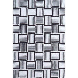 Hand-Hooked Caribe Grey /Polyester Rug (5'X8')