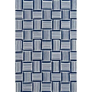 Hand-Hooked Caribe Blue /Polyester Rug (5'X8')