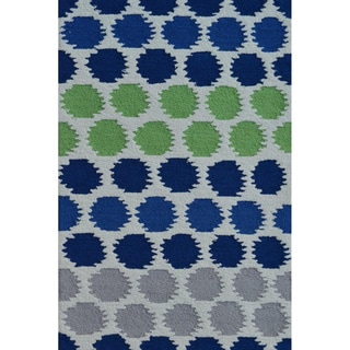 Hand-Woven Ikat Dot Blue /Polyester Rug (4'7X7'7)