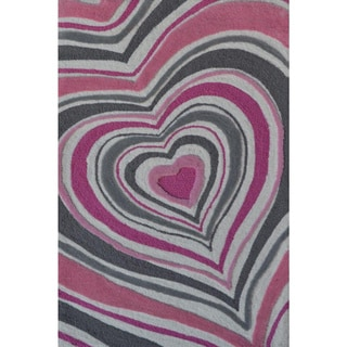 Hand-Hooked Heart Stripe /Polyester Rug (4'7X7'7)