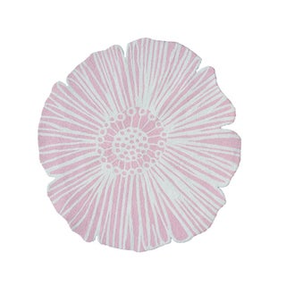 Hand-Hooked Round Flower Pink/ Polyester Rug (4'x4')