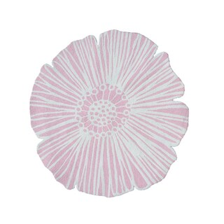 Hand-Hooked Round Flower Pink/ Polyester Rug (4'x4') - 4' x 4'