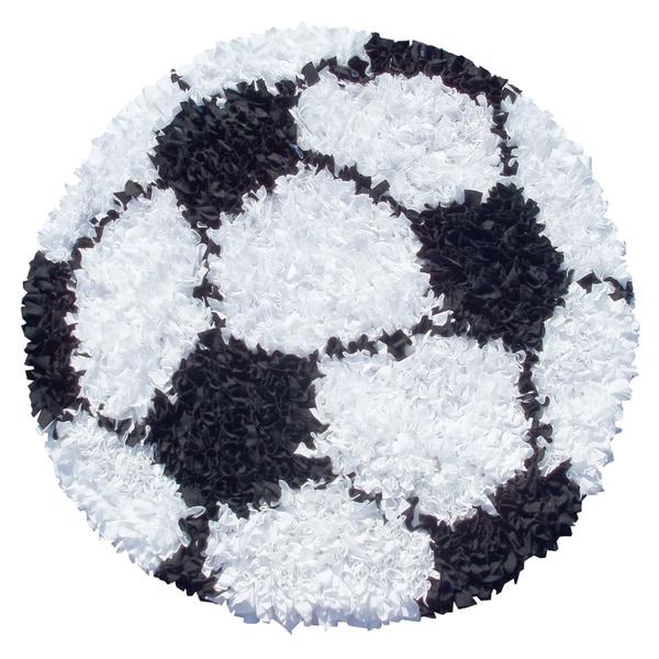 Hand-Woven Shaggy Raggy Soccer Ball / Cotton Jersey Rug - 3' x 3'