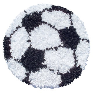 Hand-Woven Shaggy Raggy Soccer Ball / Cotton Jersey Rug (3'x3')