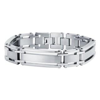 "Boston Bay Diamonds Men's Stainless Steel Interlocking Bracelet, 8.5"" - White"