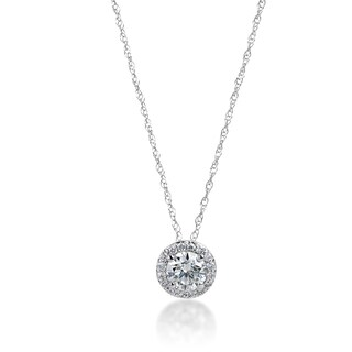 Andrew Charles 14k White Gold 3/4ct TDW Diamond Halo Slide Pendant