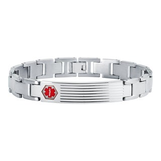 Boston Bay Diamonds Men's Stainless Steel Medical Alert and Foldover Clasp Bracelet