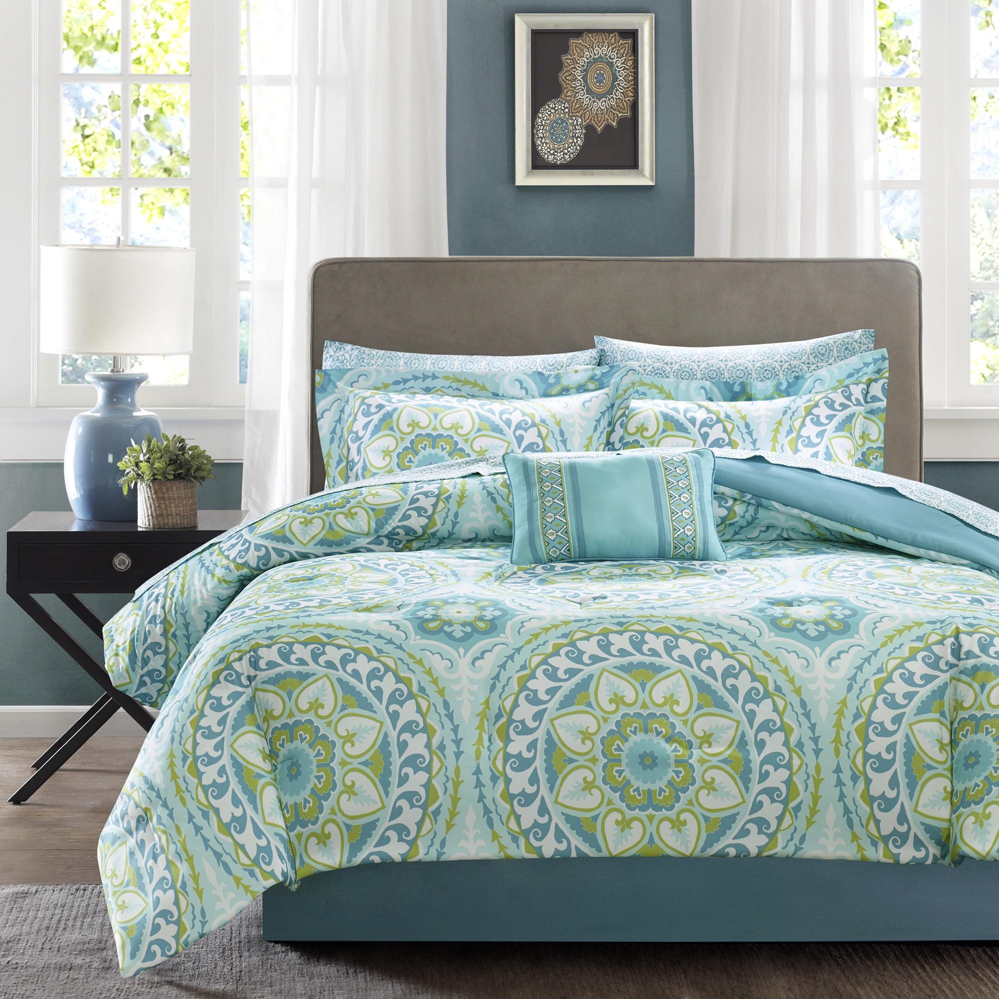Madison Park Essentials Orissa Aqua Complete Comforter and Cotton Sheet Set