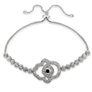 Icz Stonez Silver Cubic Zirconia Hamsa Evil Eye Adjustable Slider Bracelet|https://ak1.ostkcdn.com/images/products/11589326/P18529391.jpg?impolicy=medium