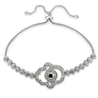 Icz Stonez Silver Cubic Zirconia Hamsa Evil Eye Adjustable Slider Bracelet