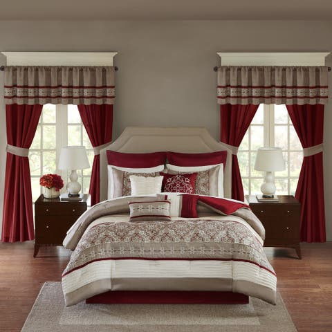 Madison Park Essentials Katarina Red 24-Piece Complete Bedroom Set (Window Panels and Sheet Set Included)