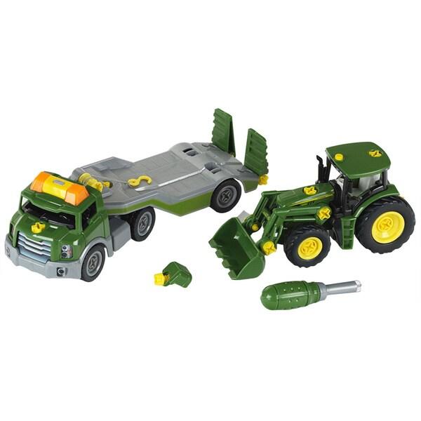 Theo Klein John Deere Take A Part Transporter with John Deere Take A Part Tractor