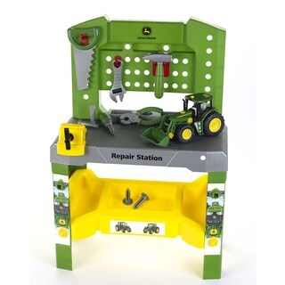 Theo Klein John Deere Repair Station Workbench and John Deere Take A Part Tractor