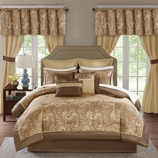 Madison Park Essentials Cadence 24-Piece Room in a Bag-Window Panels & Sheet Set Included 4-Color Option (Brown - Queen)