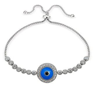 Icz Stonez Silver Cubic Zirconia Round Evil Eye Adjustable Slider Bracelet