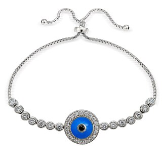Icz Stonez Silver Cubic Zirconia Round Evil Eye Adjustable Slider Bracelet (3 options available)