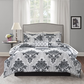 Madison Park Essentials Hayley Black/Grey Complete Bed Set-Sheet Set Included