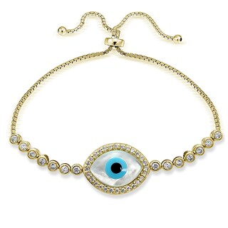 Icz Stonez Silver Cubic Zirconia Evil Eye Adjustable Slider Bracelet