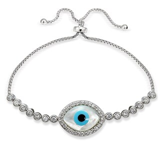 Icz Stonez Silver Cubic Zirconia Evil Eye Adjustable Slider Bracelet|https://ak1.ostkcdn.com/images/products/11589366/P18529394.jpg?_ostk_perf_=percv&impolicy=medium