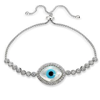 Icz Stonez Silver Cubic Zirconia Evil Eye Adjustable Slider Bracelet|https://ak1.ostkcdn.com/images/products/11589366/P18529394.jpg?impolicy=medium