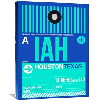 Naxart Studio 'IAH Houston Luggage Tag 2' Stretched Canvas Wall Art