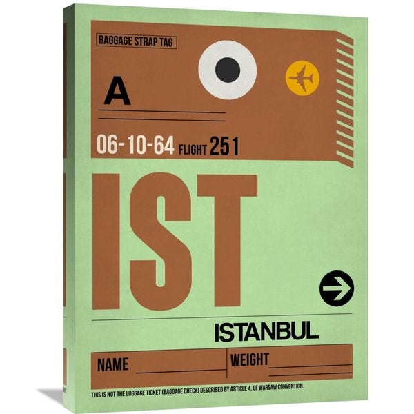 Naxart Studio 'IST Istanbul Luggage Tag 2' Stretched Canvas Wall Art