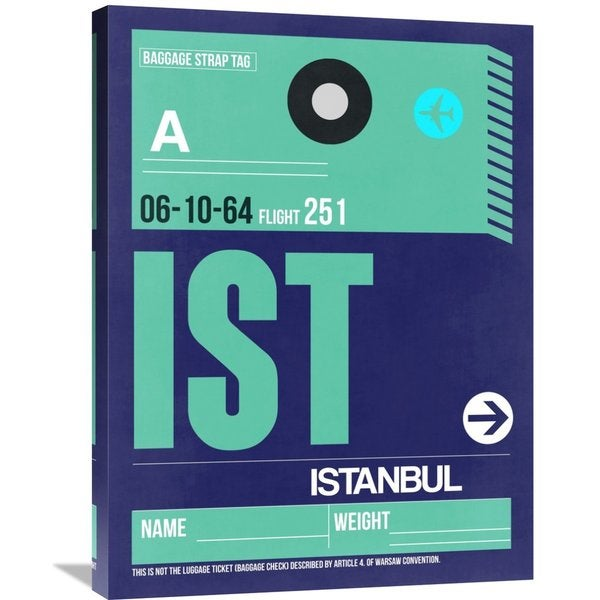 Naxart Studio 'IST Istanbul Luggage Tag 1' Stretched Canvas Wall Art