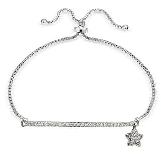 Icz Stonez Silver Cubic Zirconia Star and Bar Adjustable Slider Bracelet
