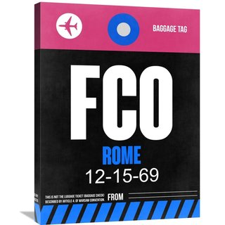 Naxart Studio 'FCO Rome Luggage Tag 2' Stretched Canvas Wall Art