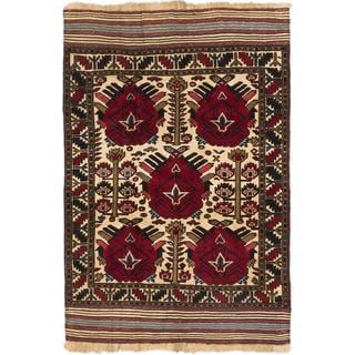 Ecarpetgallery Hand-knotted Tajik Tribal Beige and Red Wool Rug (4'1 x 5'10)
