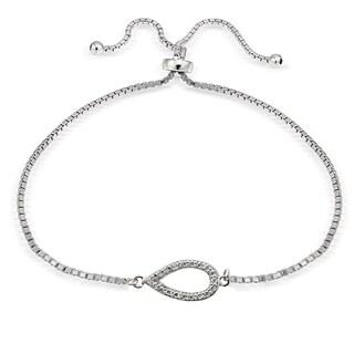 Icz Stonez Silver Cubic Zirconia Vertical Teardrop Adjustable Slider Bracelet