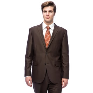 Caravelli Men's Slim Fit Brown Notch Collar Tic-pattern Suit