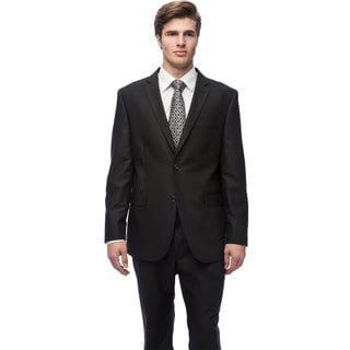 Caravelli Men's Black Notch Collar Tic-pattern Slim Fit Suit