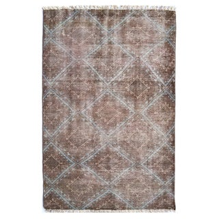 Hand-Knotted Diamond /Polyester Rug (5'X8')