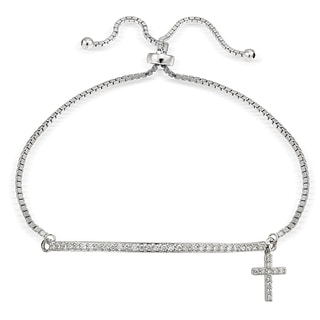 Icz Stonez Silver Cubic Zirconia Cross and Bar Adjustable Bolo Bracelet