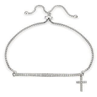 Icz Stonez Silver Cubic Zirconia Cross and Bar Adjustable Slider Bracelet