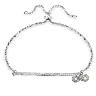 Icz Stonez Silver Cubic Zirconia Infinity and Bar Adjustable Slider Bracelet