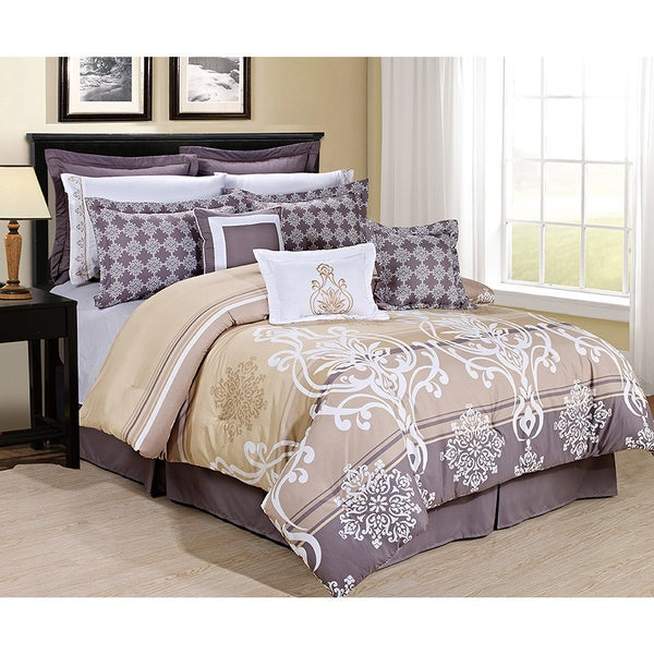 Tamson Gold Complete Bed in a Bag Comforter Set with Sheets