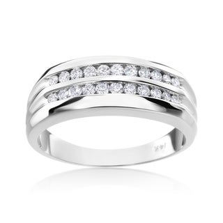 Andrew Charles 14k White Gold Men's 1/2ct TDW Diamond Ring