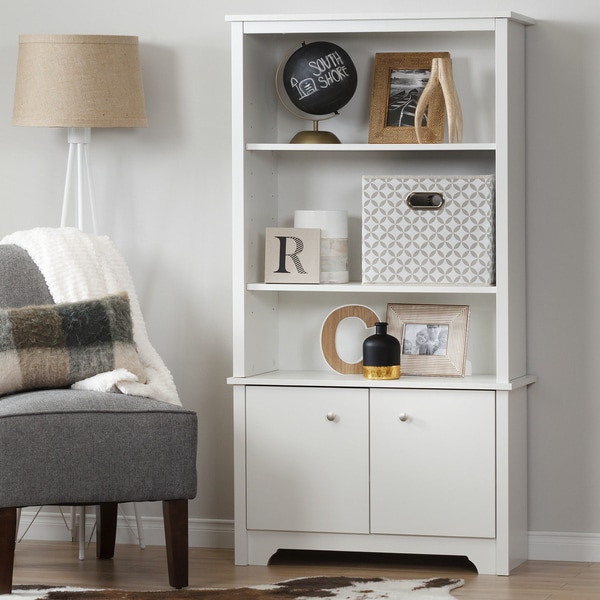 South Shore Vito 3-Shelf Bookcase with Doors