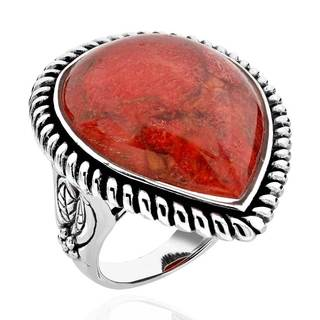 Sterling Silver Pear-cut Red Sponge Coral Antique Finish Solitaire Ring (China)