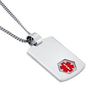 Boston Bay Diamonds Stainless Steel Men's Dog Tag Medical Alert Pendant