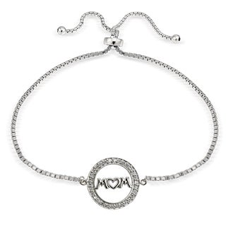 Icz Stonez Sterling Silver Cubic Zirconia Mom Adjustable Slider Bracelet