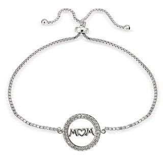 Icz Stonez Sterling Silver Cubic Zirconia Mom Adjustable Slider Bracelet